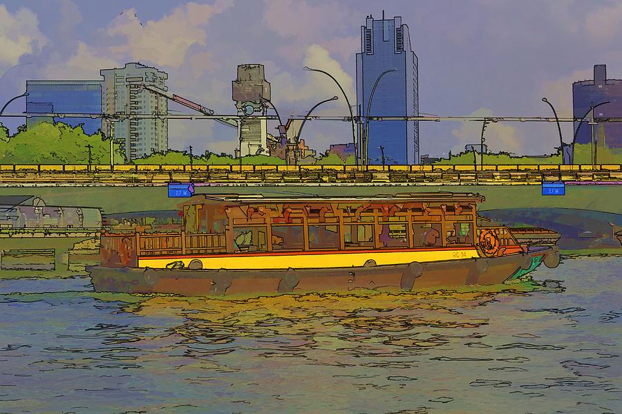 River Boat Cartoon Cartoon Colorful River