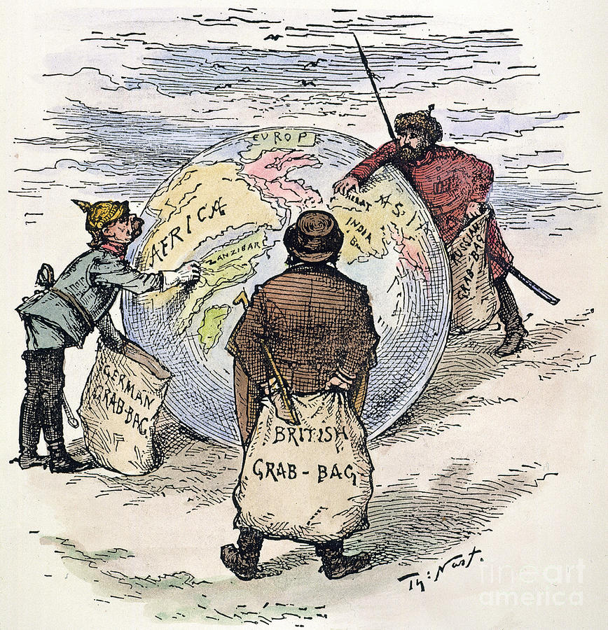 Cartoon - Imperialism 1885 Drawing  - Cartoon - Imperialism 1885 Fine Art Print