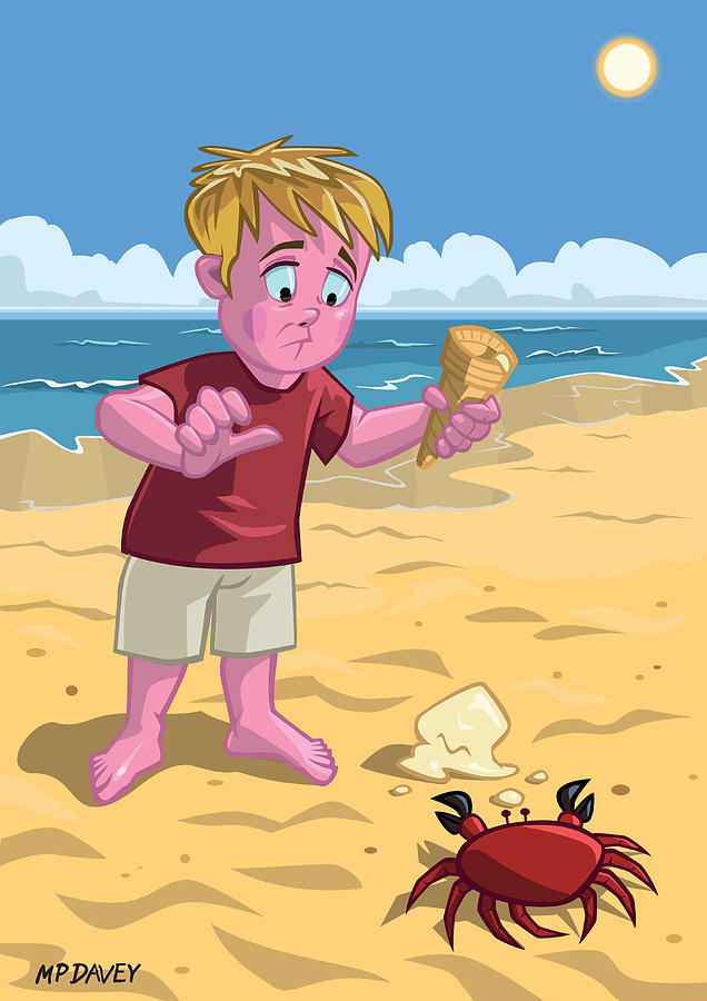 Cartoon Boy With Crab On Beach Drawing