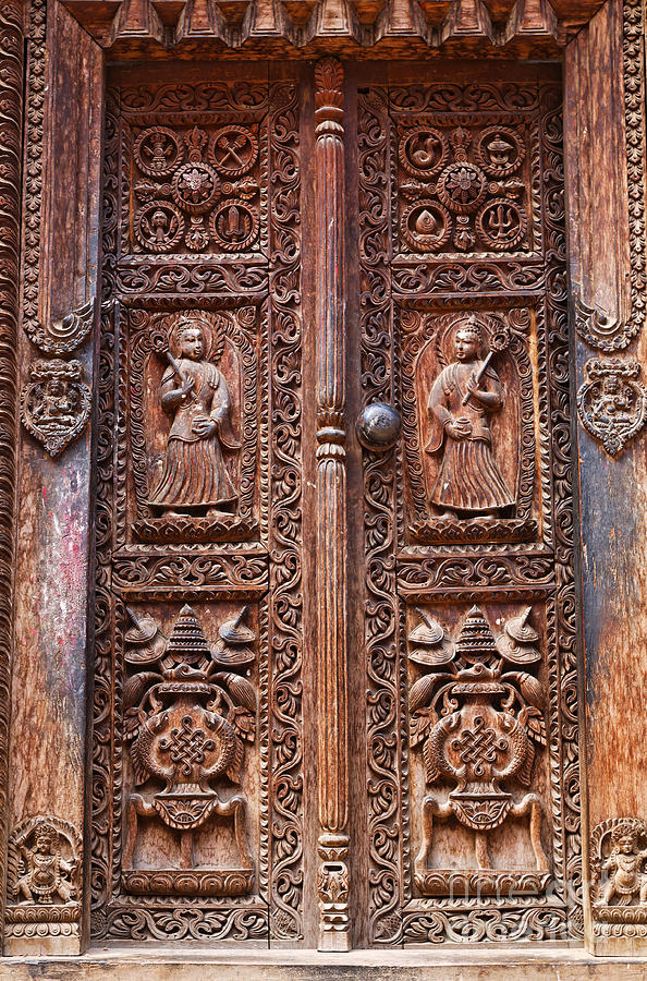 Carved Wooden Door At Bhaktapur In Nepal Photograph