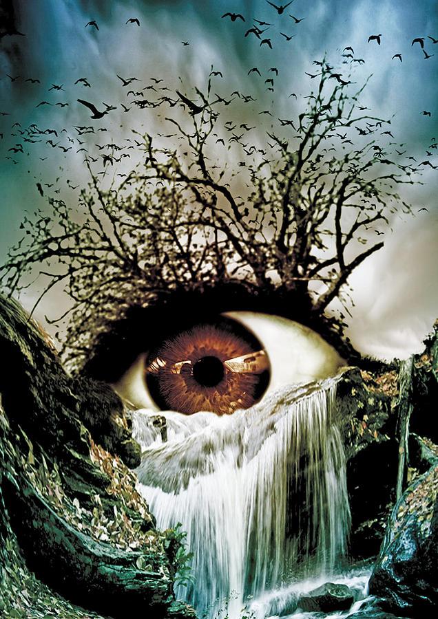 Cascade Crying Eye Digital Art By Marian Voicu