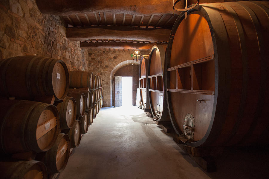 Winery Photograph - Castelle Di Amorosa Barrel Room by Scott Campbell