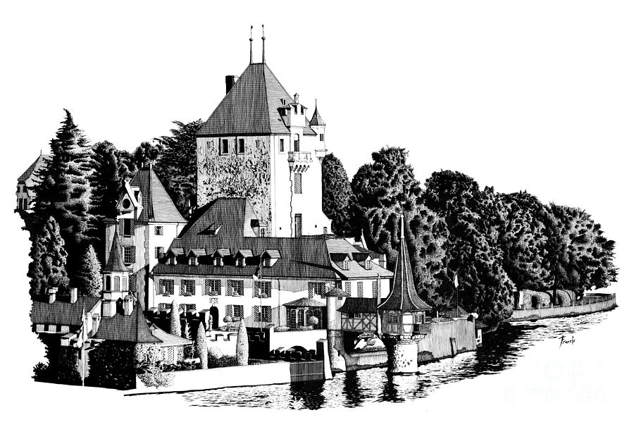 Castle By The River Drawing
