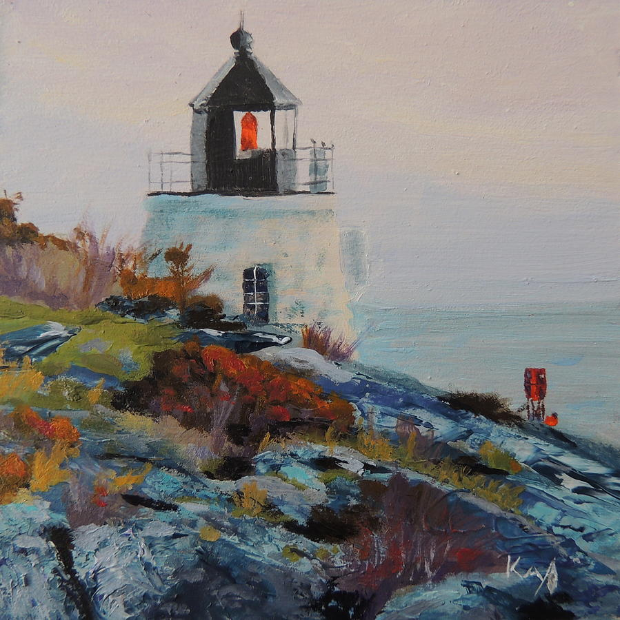 Castle Hill Lighthouse Newport Ri Painting  - Castle Hill Lighthouse Newport Ri Fine Art Print