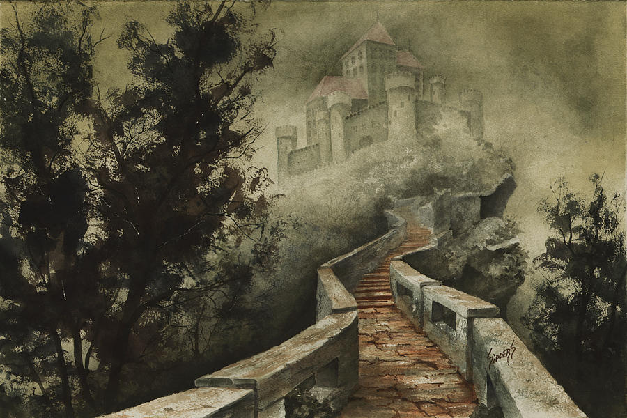 Castle In The Mist Painting