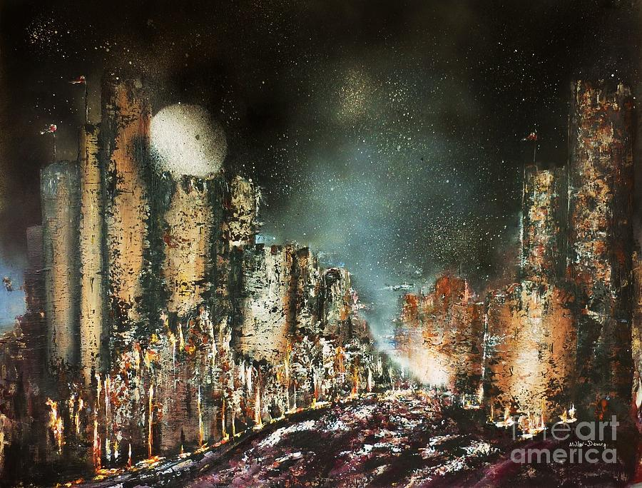 Castle Moonrise Painting  - Castle Moonrise Fine Art Print