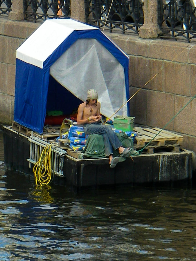 Casual Fisherman On Barge Saint Petersburg Russia Photograph