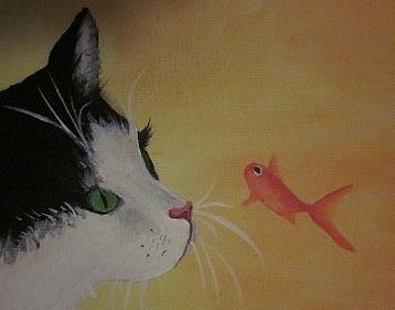 Cat And Fish Painting