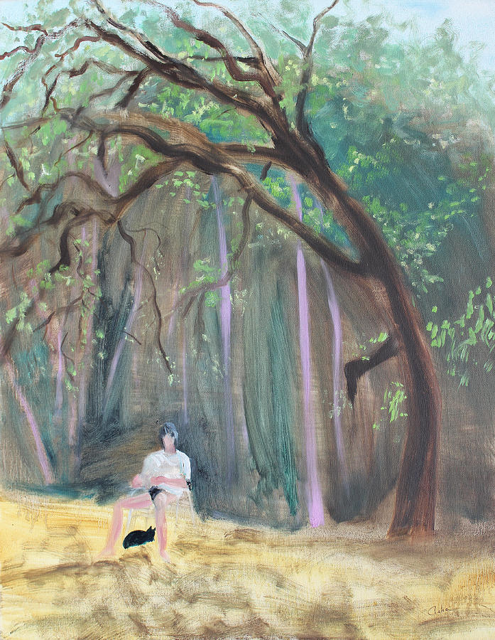 Cat And Reading Man Under A Bay Tree Painting  - Cat And Reading Man Under A Bay Tree Fine Art Print