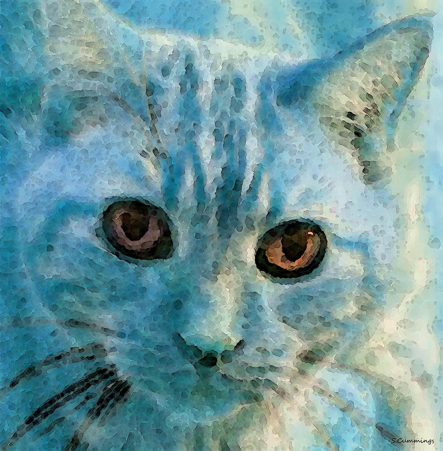 Cat Art - Feline Blue Painting  - Cat Art - Feline Blue Fine Art Print