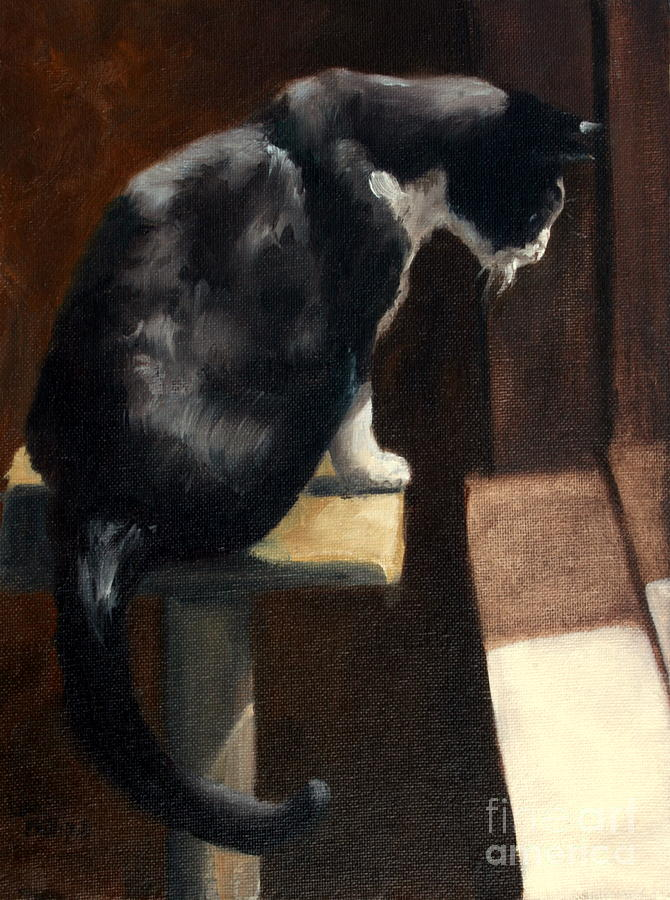 Cat Painting - Cat At A Window With A View by Lisa Phillips Owens