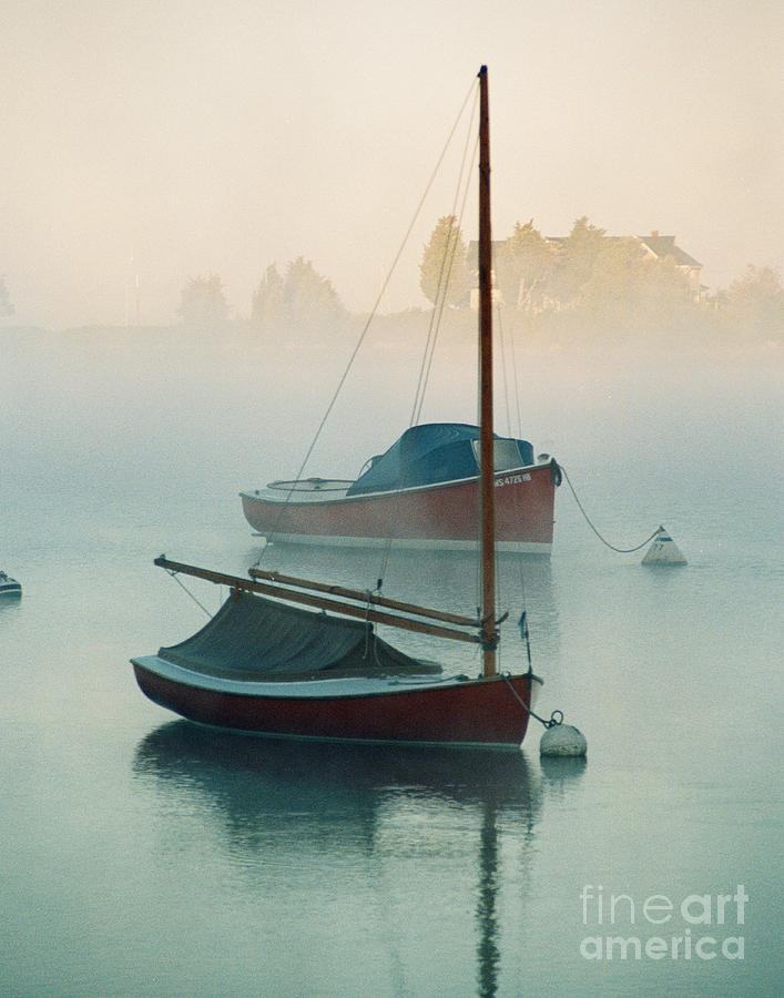 Cat Boat In The Fog Painting  - Cat Boat In The Fog Fine Art Print