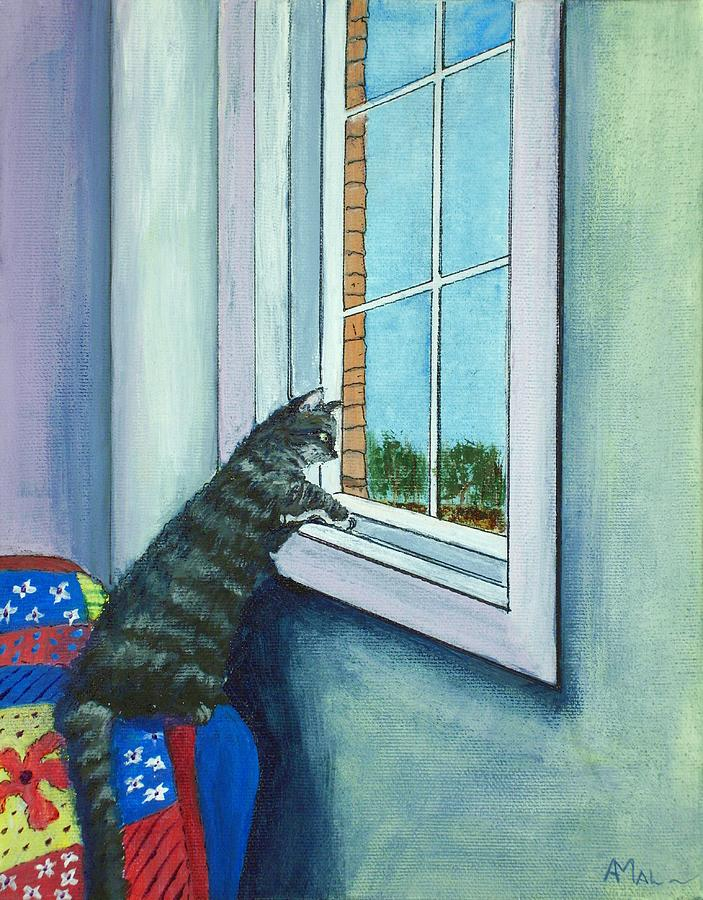 Cat By The Window Painting