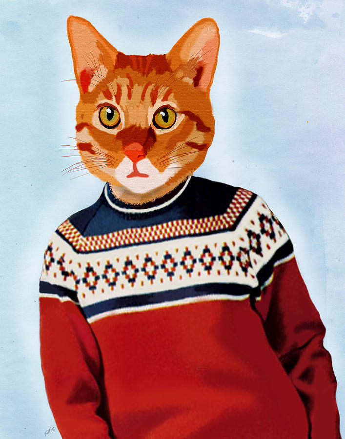 Cat In A Ski Jumper Digital Art  - Cat In A Ski Jumper Fine Art Print