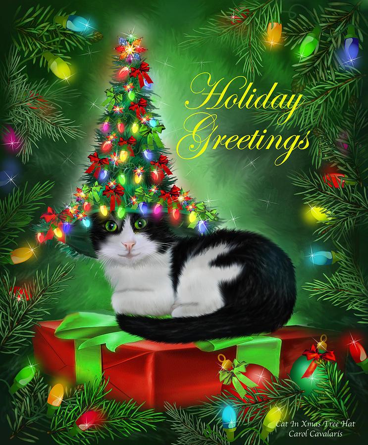 Cat Mixed Media - Cat In Christmas Tree Hat by Carol Cavalaris