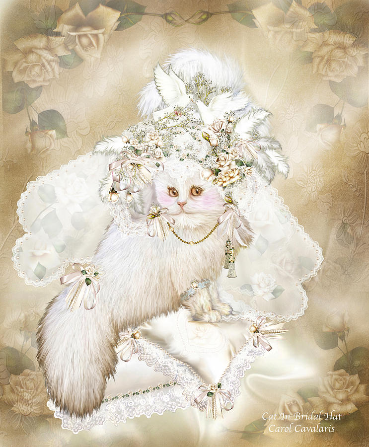 Cat In Fancy Bridal Hat Mixed Media  - Cat In Fancy Bridal Hat Fine Art Print