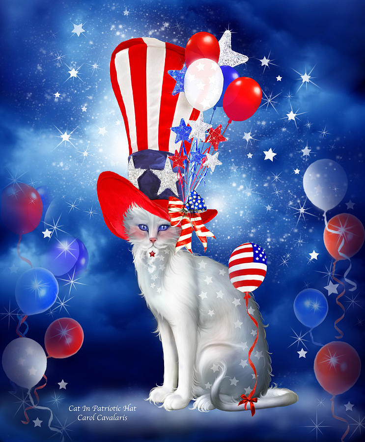 Cat In Patriotic Hat Mixed Media  - Cat In Patriotic Hat Fine Art Print