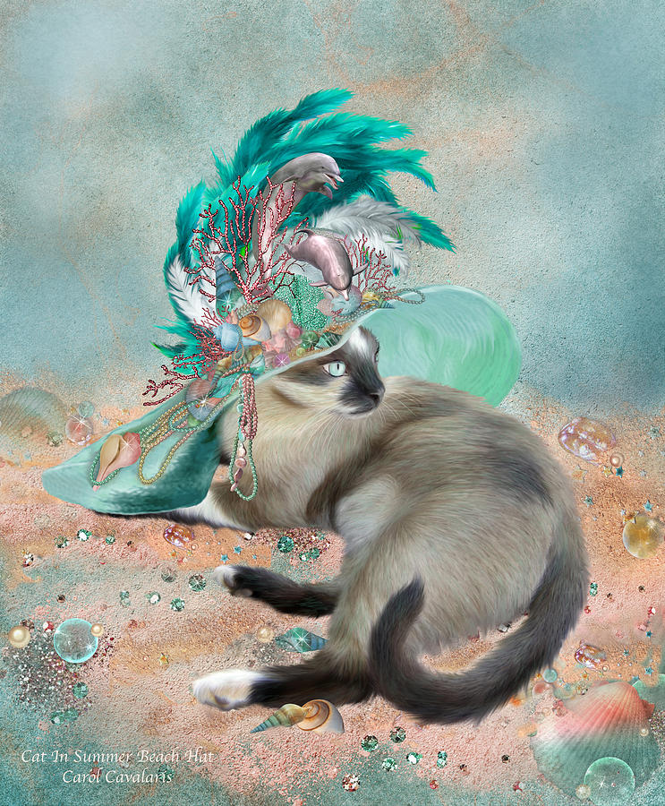 Cat In Summer Beach Hat Mixed Media  - Cat In Summer Beach Hat Fine Art Print