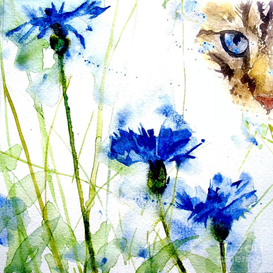 Cat In The Cornflowers Painting  - Cat In The Cornflowers Fine Art Print