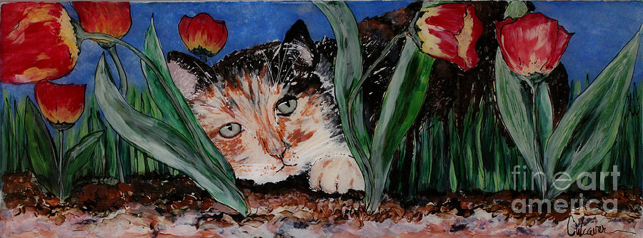 Cat Painting - Cat In The Grass by Cathy Weaver
