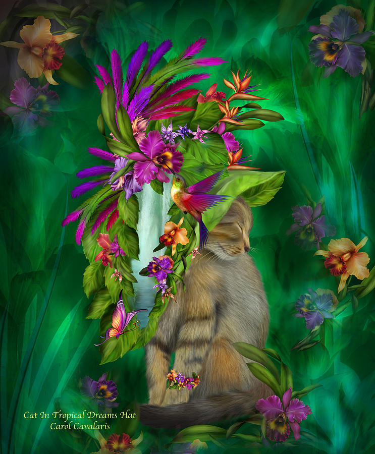 Cat In Tropical Dreams Hat Mixed Media  - Cat In Tropical Dreams Hat Fine Art Print