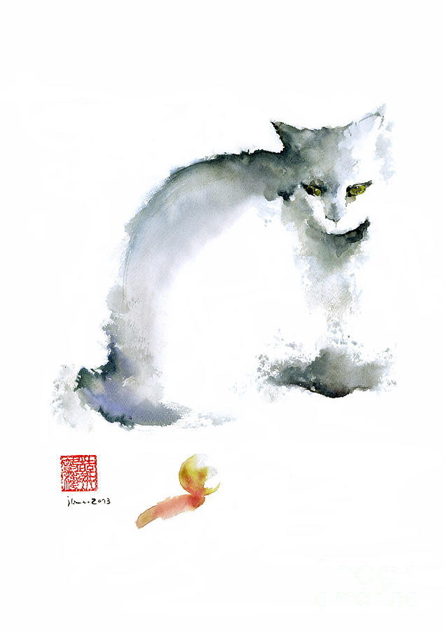 Cat kitten blue animal grey ball cute fun animals for Cute watercolor paintings
