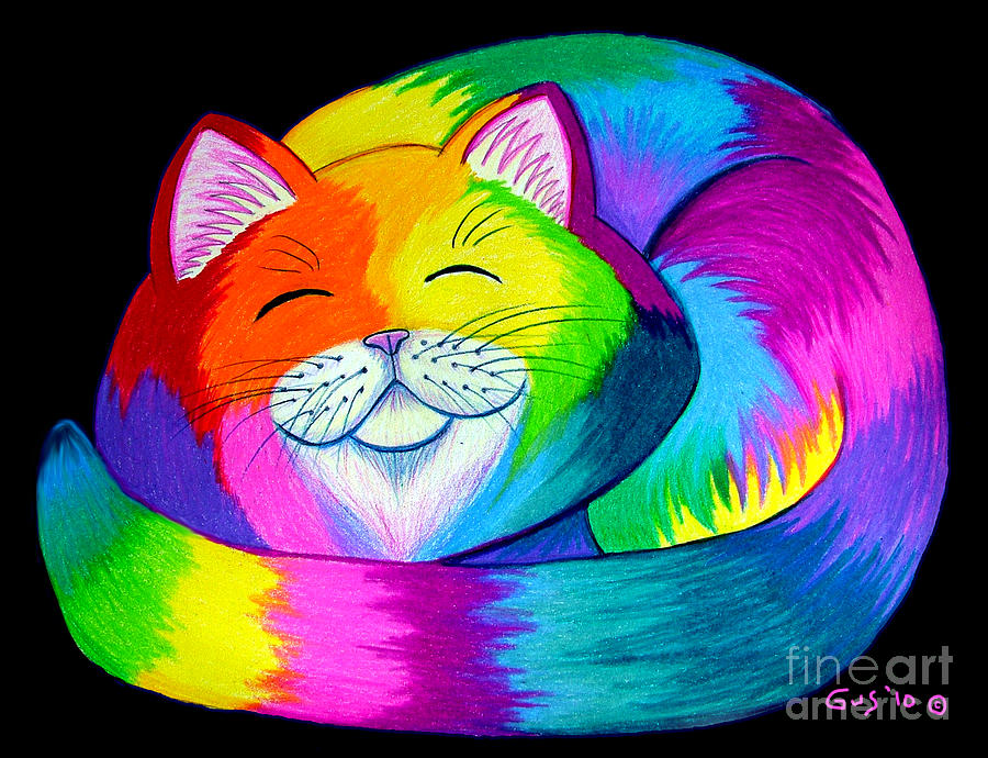Cat Art Drawing - Cat Napping 2 by Nick Gustafson