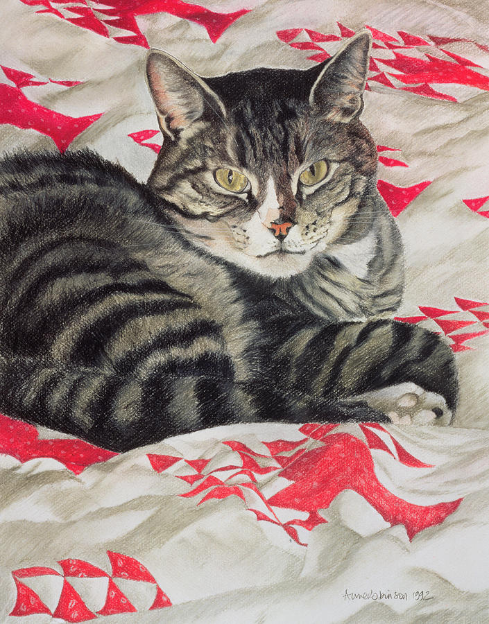 Striped; Stripes; Feline; Portrait; Pet; Relaxing; Relaxed; Grey; Gray; Staring Painting - Cat On Quilt  by Anne Robinson