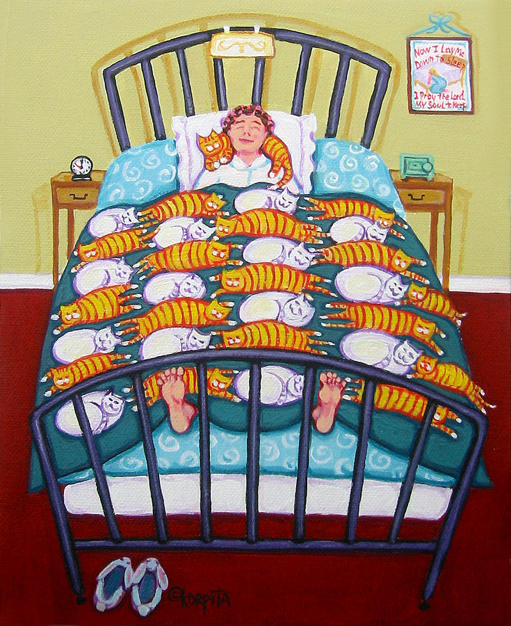Cat quilt painting by rebecca korpita for Crazy mural lady