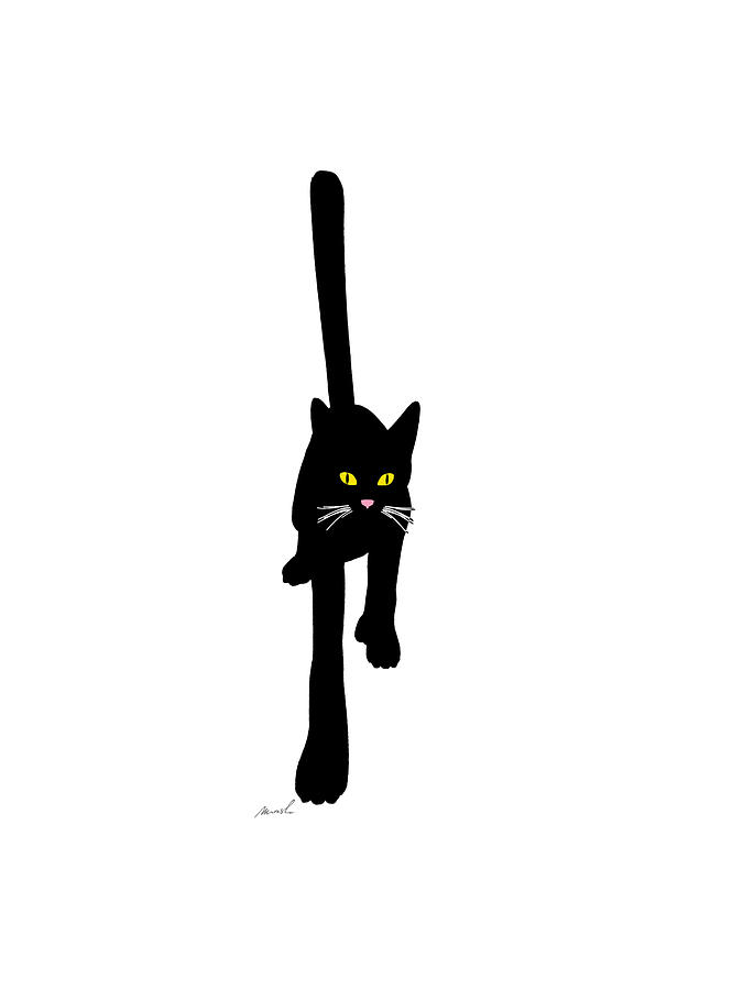 Black Drawing - Cat Stepping Forward by The Art of Marsha Charlebois