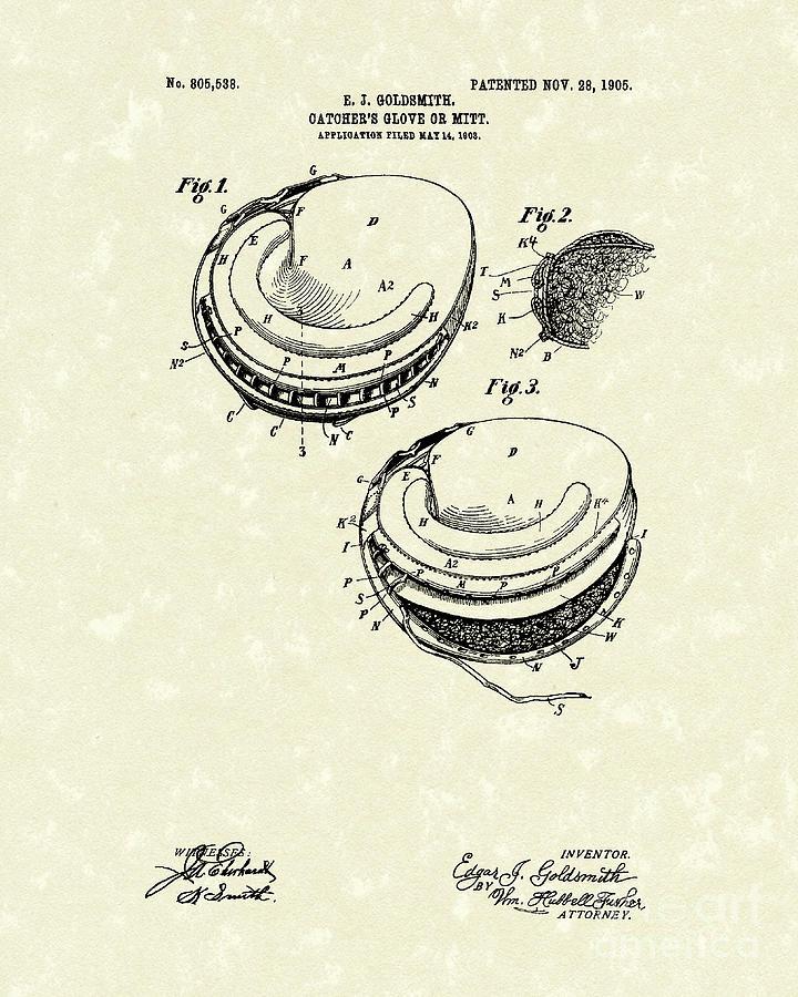 Catchers Glove 1905 Patent Art Drawing