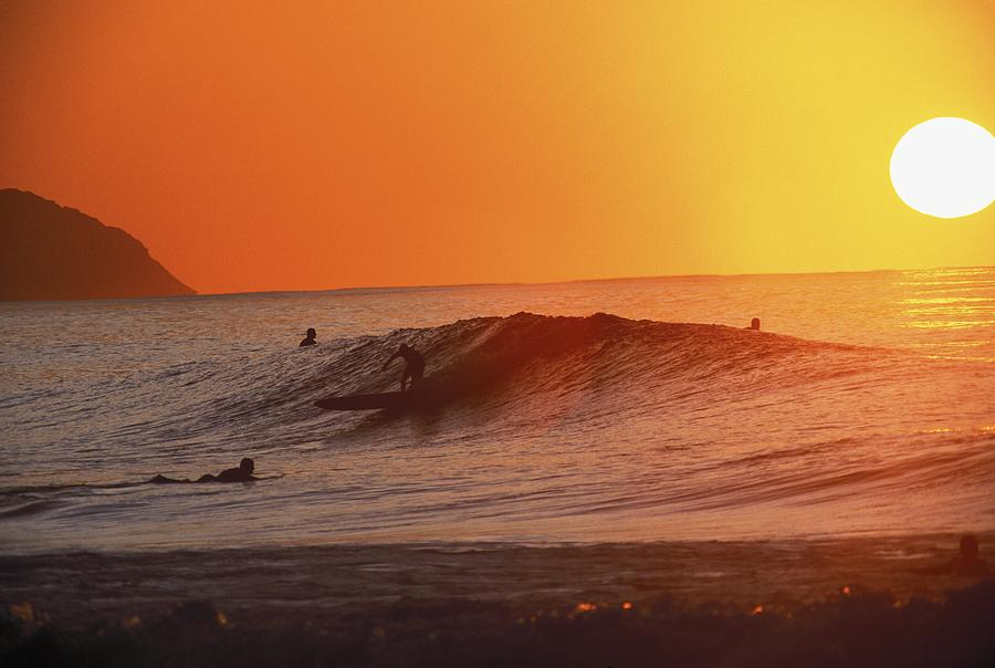 Catching A Wave At Sunset Photograph  - Catching A Wave At Sunset Fine Art Print