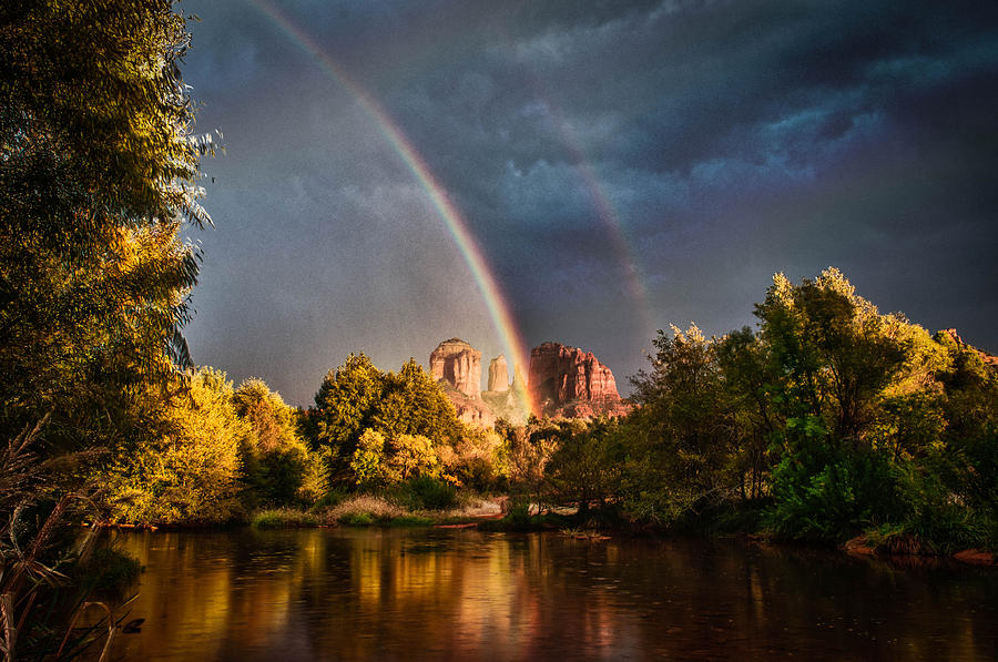 Cathedral Crossing Double Rainbow Photograph