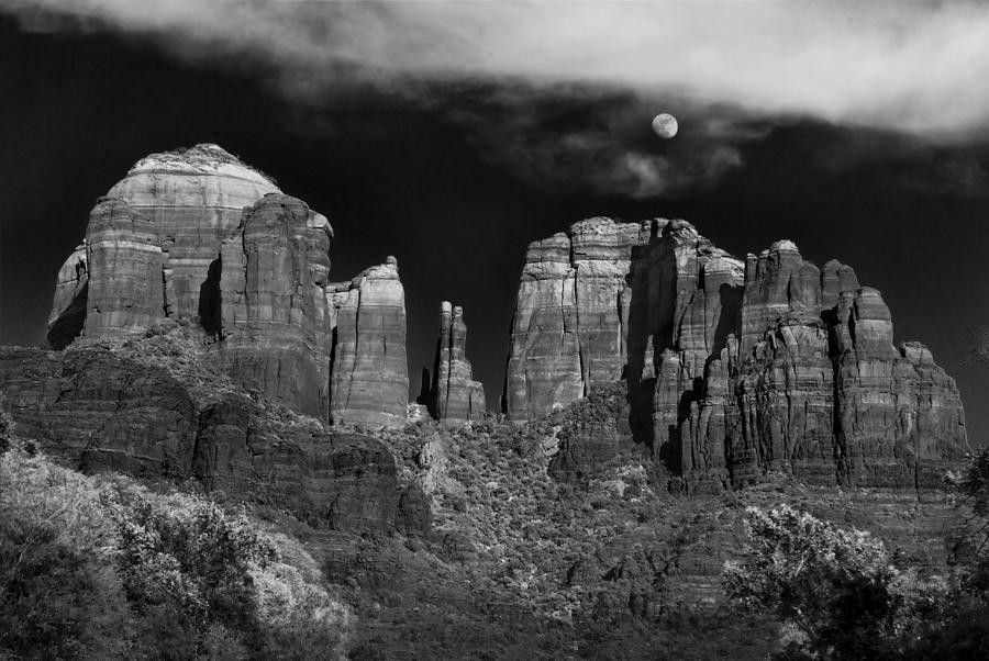 Cathedral Rock Moon Rise Photograph