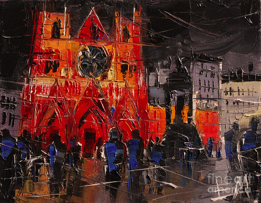 Cathedral Saint Jean-baptiste In Lyon Painting  - Cathedral Saint Jean-baptiste In Lyon Fine Art Print