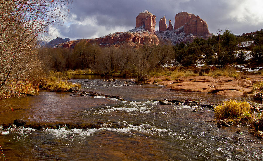 Cathedral Rock Photograph - Cathedrals Dusting  by Tom Kelly