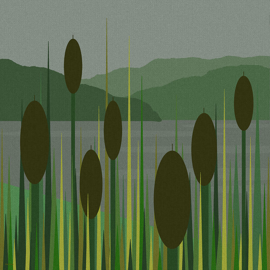 Cattails In The Rain Digital Art