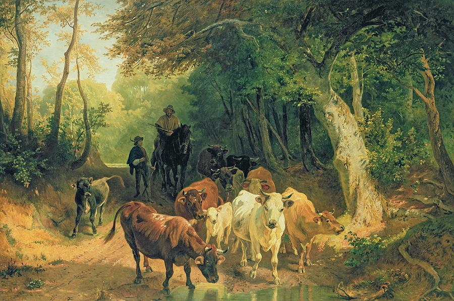 Cattle Watering In A Wooded Landscape Painting  - Cattle Watering In A Wooded Landscape Fine Art Print