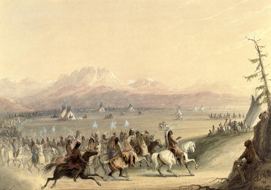 Landscape;wild West;mountains;plain;plains;native American Indian;indians;horse;cavalry;wigwam;teepee;teepees;wigwams;western Painting - Cavalcade by Alfred Jacob Miller