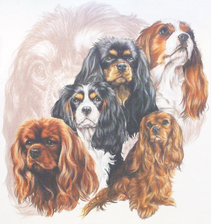 Cavalier King Charles Spaniel With Ghost Mixed Media  - Cavalier King Charles Spaniel With Ghost Fine Art Print