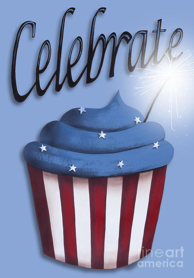 Celebrate The 4th / Blue Painting  - Celebrate The 4th / Blue Fine Art Print