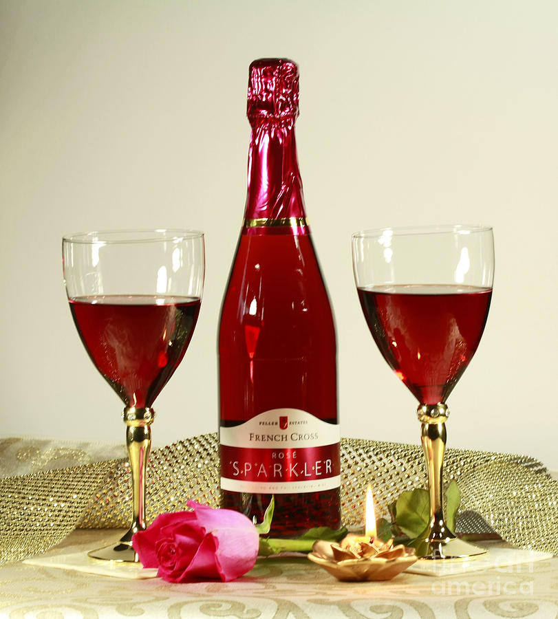 Celebrate With Sparkling Rose Wine Photograph