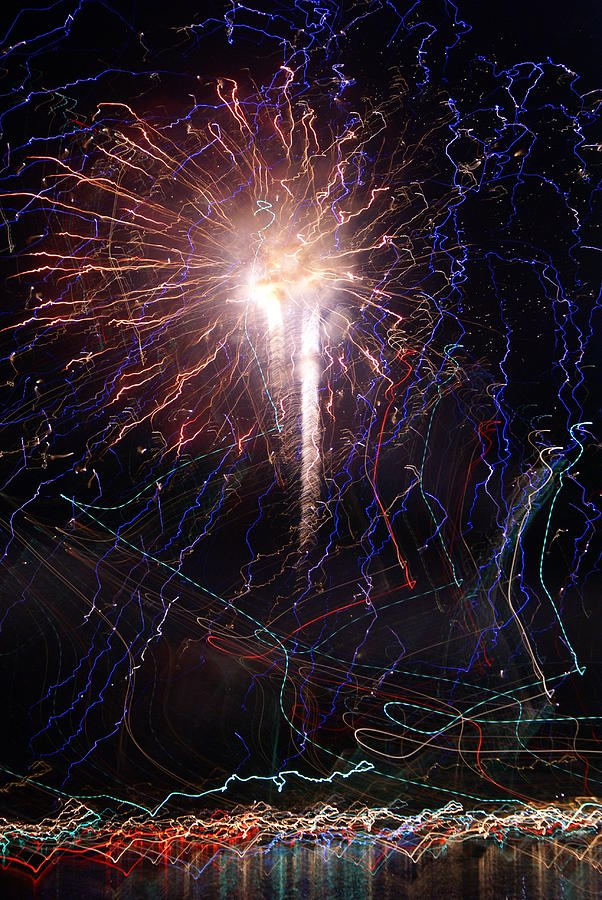 Celebration Fireworks Grand Lake Co 2007 Photograph  - Celebration Fireworks Grand Lake Co 2007 Fine Art Print