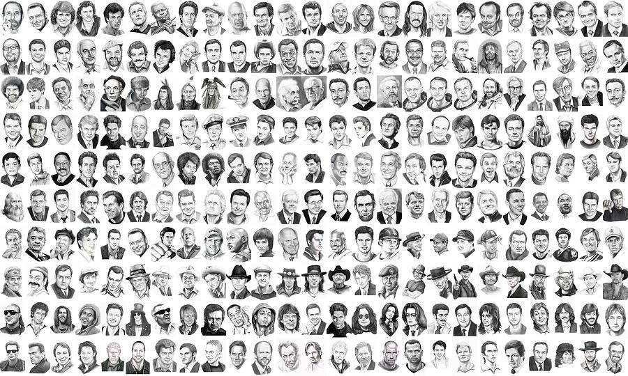 Drawings Drawing - Celebrity Drawings by Murphy Elliott
