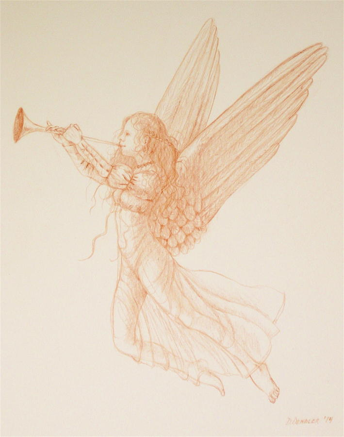 Celestial Angel With Trumpet Drawing