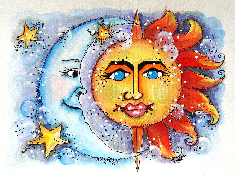 Celestial Sun And Moon Painting  - Celestial Sun And Moon Fine Art Print