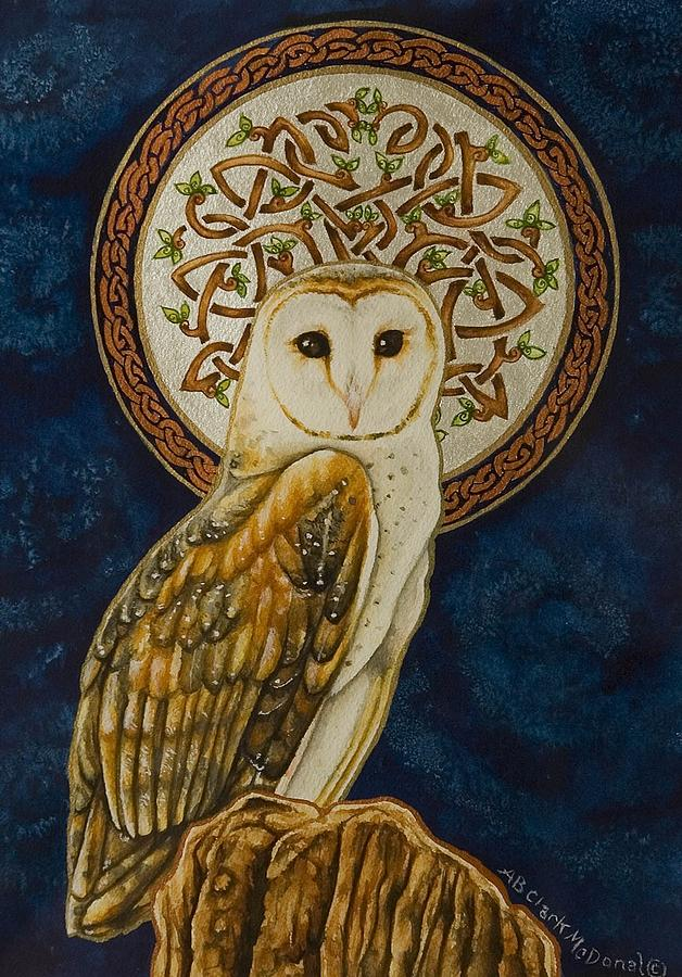 #2 In My Celtic Owl Series Painting - Celtic Barn Owl by Beth Clark-McDonal