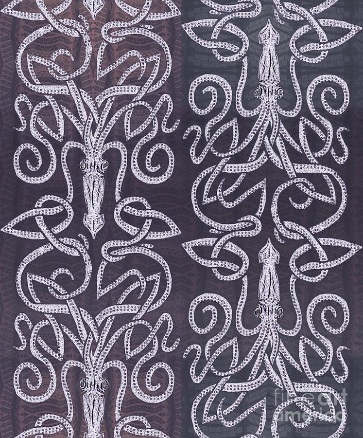 Celtic Plum Kraken Drawing