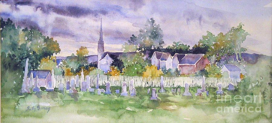 Cemetary Watercolor Painting  - Cemetary Watercolor Fine Art Print