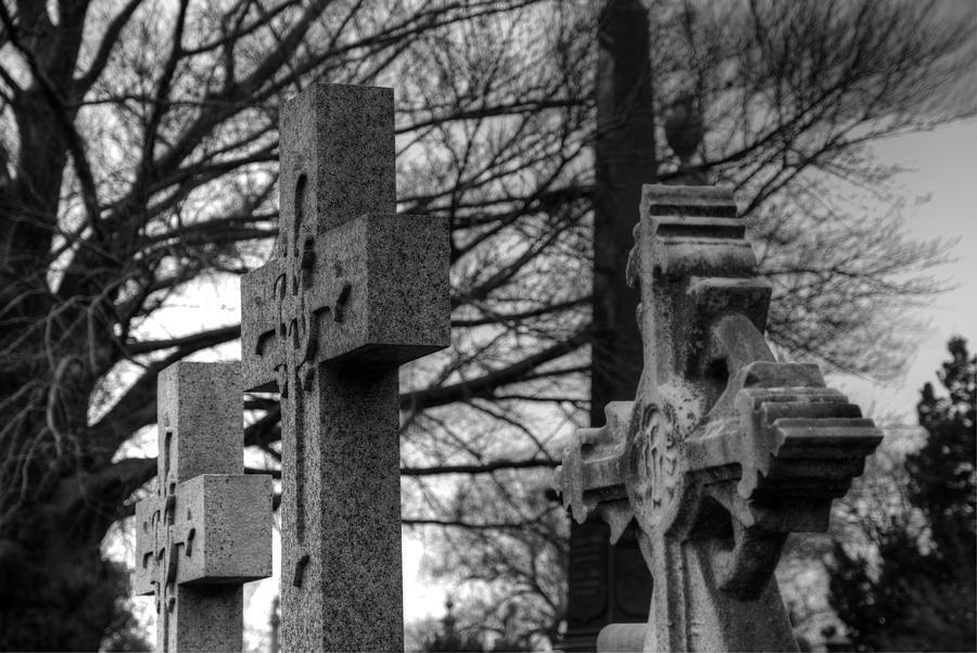 Cemetery Photograph - Cemetery Crosses by Jennifer Ancker